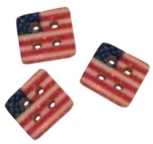 """Stripe Button Hipster (Fancy & Decorative {9mm w/ 4 Holes} 10 Pack of Small Size Square """"Flat"""" Sewing & Craft Buttons Made of Genuine Wood w/ Patriotic Stars & Stripes American Flag Design {Red, White & Blue})"""
