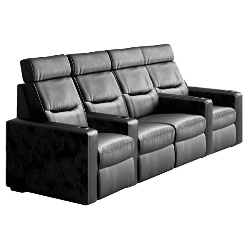 Salamander TC3 AV Basics 4-Seat with Loveseat Straight Motorized Recliner Home Theater Seating (Black Bonded Leather) by Salamander