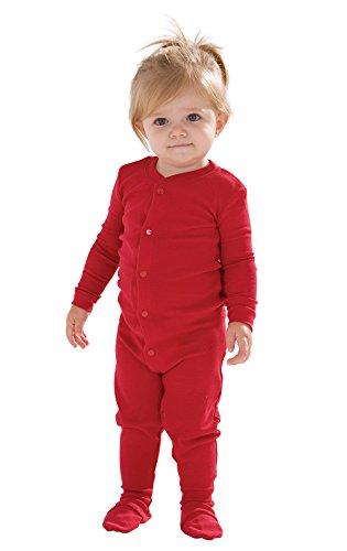 PajamaGram Cotton Red Dropseat Sleeper Onesie Pajamas, Red, 18 Months