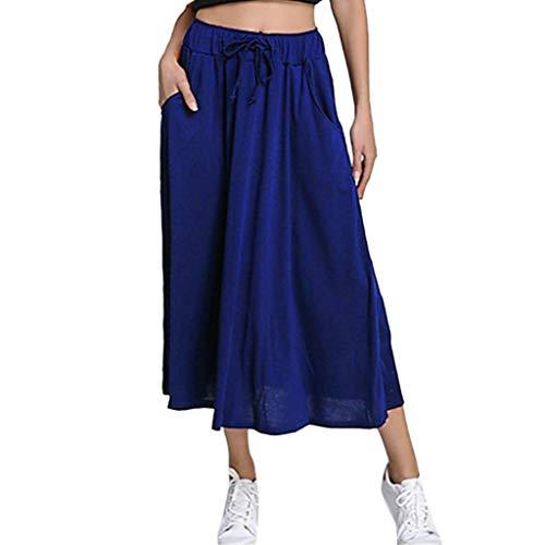 〓COOlCCI〓Women's High Waist Fold Over Pocket Shirring Skirt Midi Skirt with Pocket Blue