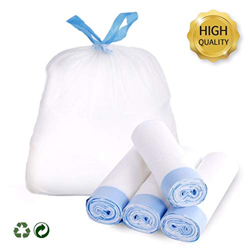 Favored 4 Gallon Trash Bags,Garbage Bags Tall Strong Super-Thickened Drawstring Solid Trash Bags,Garbage Bags for Kitchen,Bathroom, Bedroom, Home, Office, Trash Cans (60 Counts-white)