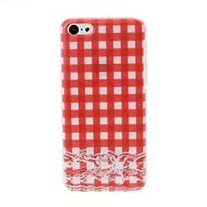DUR 0209 Small Fresh Grid and Lace Pattern Plastic Hard Case for iPhone 5C , Red