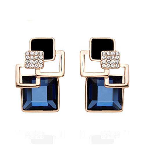 Orcbee  _Vintage Square Crystal Geometric Earrings Vintage Fashion Fine Classic Gold Jewelry (Blue) from 💗 Orcbee 💗 _Jewelry & Watches