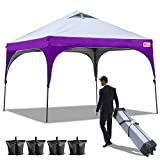 Cheap MASTERCANOPY 10×10 Canopy Beach Canopy Better Air Circulation Canopy with Wheeled Backpack Carry Bag+4 x Sandbags, 4 x Ropes&4 x Stakes,Pop Up Canopy Tent 10×10(Gray with Purple)