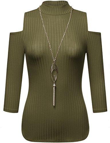 FPT Womens 3/4 Sleeve Ribbed Cold Shoulder Mock Neck Blouse OLIVE LARGE