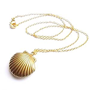 Adecco LLC Sea Shell Locket, Mermaid Valentine Necklace, Beach Locket, Gold Tone Brass, Little Shell Locket, Nautical Jewelry