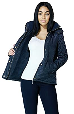 Womens Zip Up Quilted Hooded Jacket with Elbow Patches and Faux Fur Lining