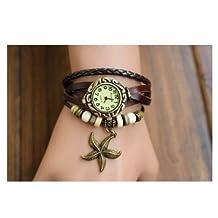 LanLan Wrap Around Weave Leather Watch Bracelet Wristwatch Wristband