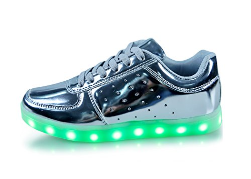 Silver USB Charging LED Lighting Shoes Fashion Flashing Sneaker-LS02-SV40