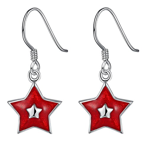 FENDINA Christmas Jewelry Sets Star Dangle Earrings Sets Pendant Necklace Women Girls Red Wreath Santa Claus Stockings White Snowman Missing Hat Snowflake Jingle (How To Wear A Santa Hat)
