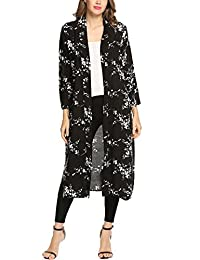 Meaneor Women Boho Floral Sheer Chiffon Kimono Cardigan Long Loose Cover Ups
