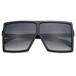 Big XL Large Oversized Super Flat Top Square Two Tone Color Fashion Sunglasses (Black/Black Gradient Lens, 65)