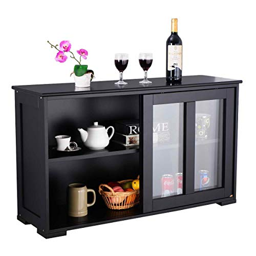 WATERJOY Kitchen Storage Sideboard, Stackable Buffet Storage Cabinet with Sliding Door Tempered-Glass Panels for Home Kitchen, Antique Black