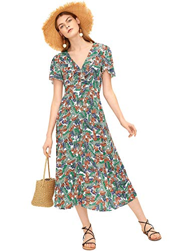 Milumia Women's Tropical Floral Print Ruffle Trim V Neck Boho Long Dress (Small, Multicolor)