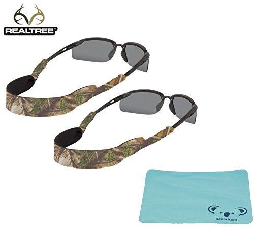 Chums Classic Neoprene Camoflauge Eyewear Retainer Sunglass Strap Band   Eyeglass & Sports Glasses Holder Keeper Lanyard   2pk Bundle + Cloth, Realtree - Sunglasses Band