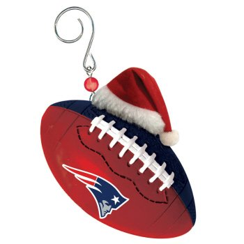 Team Ball with Santa Hat Ornament, New England Patriots