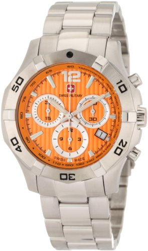 Swiss Military Calibre Men's 06-5I3-04-079 Immersion Chronograph Orange Dial Steel Bracelet Watch