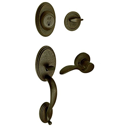 BHP Mariner Rustic Entry Door Handleset with Right-Hand (RH) King's Ransom Lever, Oil-Rubbed Bronze
