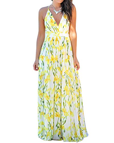 Women's Boho Wrap Maxi Dresses - Sexy Spaghetti Strap Floral Beach Sun Dresses Belted X-Large Yellow