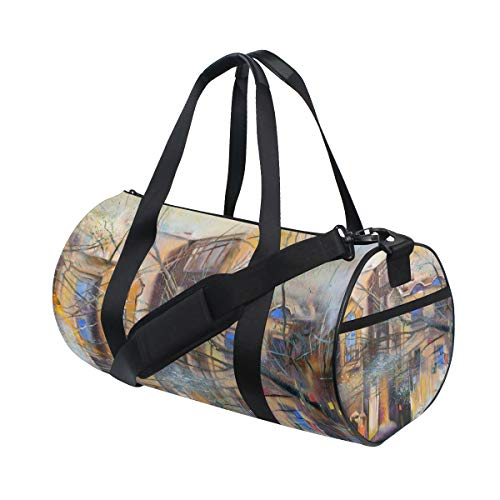 (KUDOUXIA Unknown Moscow Street Oil Painting Cityscape Water Resistant Gym Sports with independent zipper Travel Duffel Bag for Women and Men)