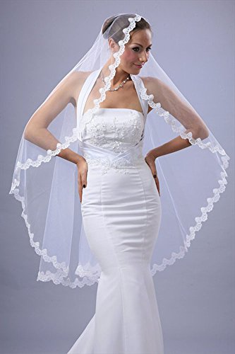 Bridal Mantilla Veil Diamond (Off) White 1 Tier Knee Length Scallop Lace ()