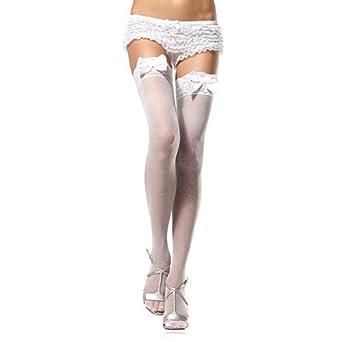 3620ddda701 Leg Avenue White Sheer Lace Top Stockings With Bow. One Size.   Amazon.co.uk  Clothing