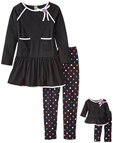 Dollie & Me Big Girls' Knit Swing Dress with Pocket Detail and Polka Dot Legging, Black/Multi, 7