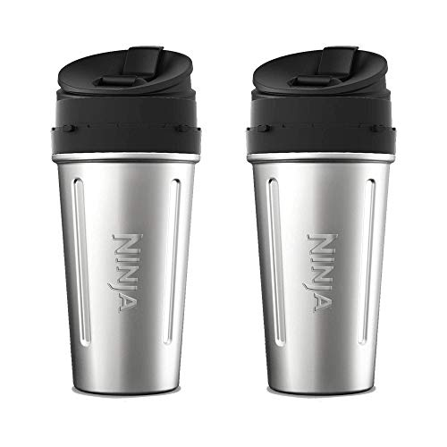 Ninja Stainless Steel Nutri Ninja Cup Sip & Seal Lid for Auto-IQ Series (2 Pack)