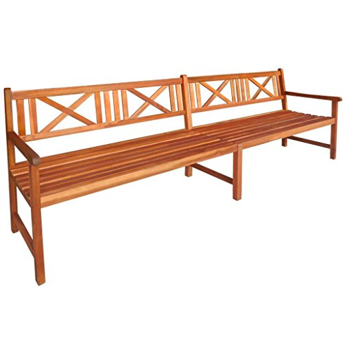 4 Seater Garden (Outdoor Patio 4 Seater Wooden Bench, Acacia Wood with Light Oil Finish, Patio Furniture)