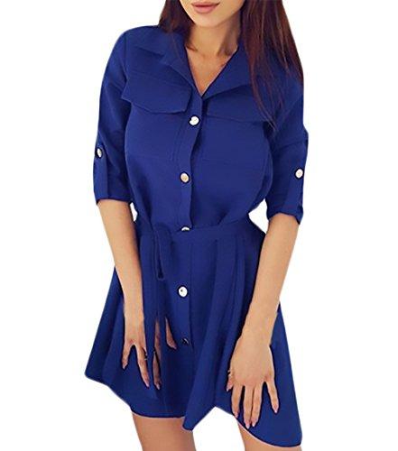 Abiti Donna Eleganti Corti Primavera Manica Lunga Risvolto Monopetto Camicia Vestito Puro Colore Moda Vestiti Casual Camicetta Vestitini Blu