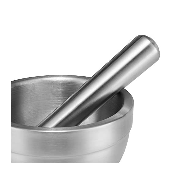 Flexzion Brushed Stainless Steel Mortar and Pestle Set w/Lid, Anti-Slip Bottom - Solid Metal Grinder Pill Crusher Bowl Holder for Guacamole Herbs Spices Garlic/Kitchen Cooking Medicine 4-3/4 Inch 6 Robust & Reliable Materials - Constructed with high quality stainless steel, the sturdy mortar and pestle are rustproof, anti-corrosion, heavy duty, durable, and safe to use Anti-Slip Rubber Bottom & Silicone Lid - Features a rubber non-skid base that provides strong stability when grinding; the non-toxic and soft silicone lid allows you to grind freely while keeping all the smashed ingredients inside the bowl Optimal Grinding Tool w/ Generous Capacity - Designed to optimize the surface contact between the bowl and pestle, it improves grinding and pounding performance to release the maximum flavor and aroma from herbs and spices. A generous 1-1/3 cup (or 10-2/3 oz) capacity allows you to process a large quantity of herbs/spices all at once