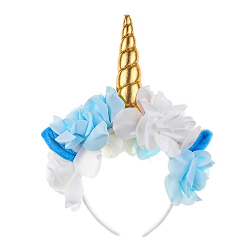 Love Sweety Unicorn Headband Rose Flower Ear Unicorn Cosplay Party Headwear (Golden)
