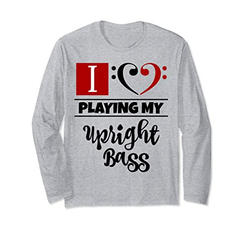 Double Black Red Bass Clef Heart I Love Playing My Upright Bass Long-Sleeve T-Shirt