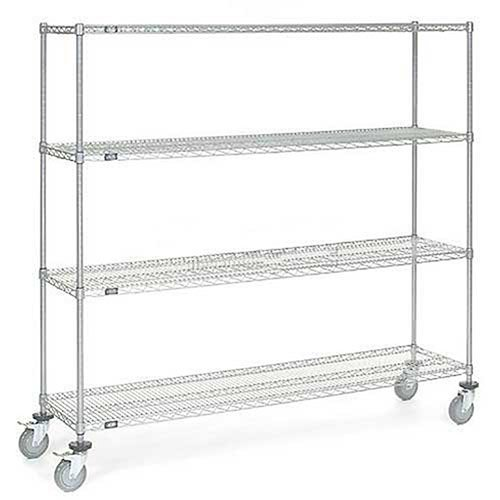 Chrome Wire Shelf Truck, 72x18x69 1200 Pound Capacity with Brakes