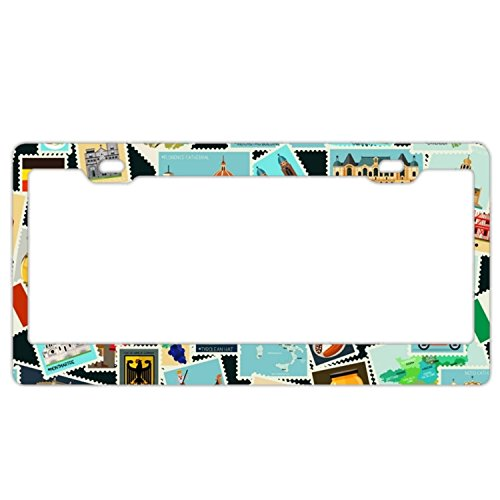 Pattern Postage Stamps - EXMENI Postage Stamps Pattern License Plate Frame Theft-Proof Frames Stainless Steel Board Frames