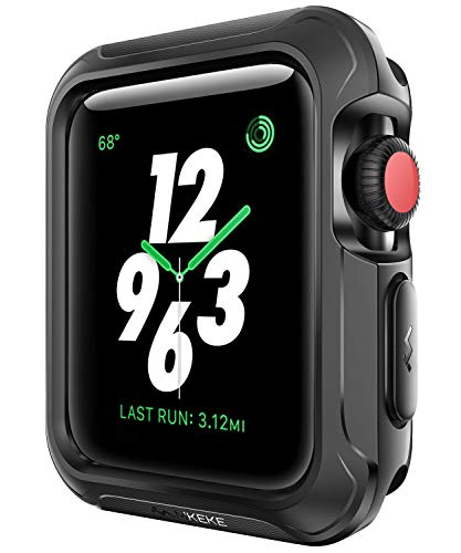 - V85 Compatible Apple Watch Case 42mm, Shock-proof and Shatter-resistant Protector Bumper iwatch Case Compatible Apple Watch Series 3, Series 2, Series 1, Nike+,Sport, Edition Black