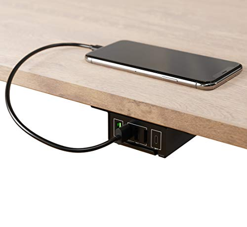 HumanCentric Under Desk USB Charging Station (Black) | Under Desk USB Charger with USB-C, USB-A and QC 3.0 | Gaming…