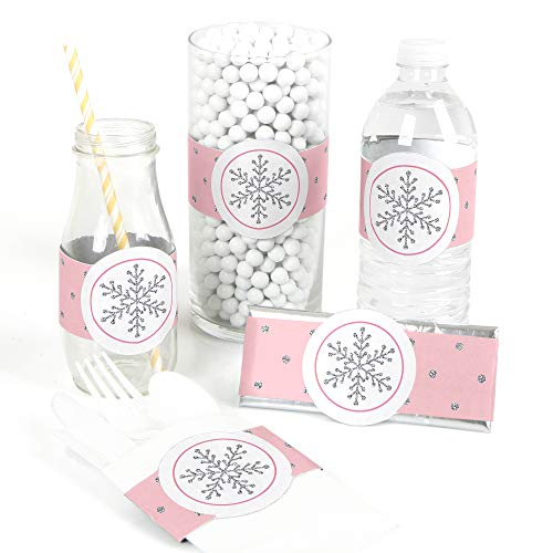 Pink Winter Wonderland - DIY Party Supplies - Holiday Snowflake Birthday Party or Baby Shower DIY Wrapper Favors & Decorations - Set of 15