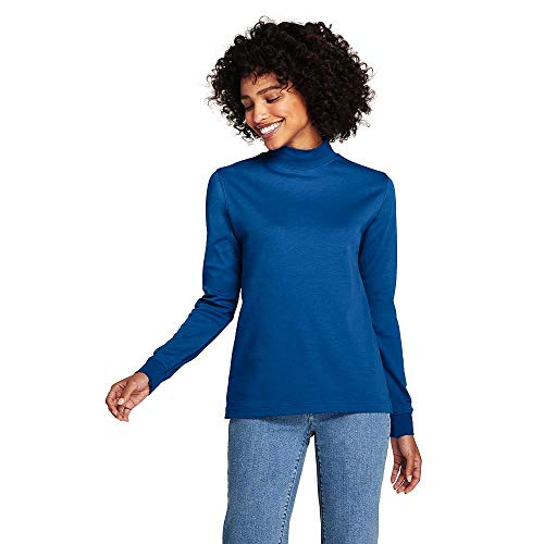 Mock Turtleneck Interlock Ladies (Lands' End Women's Tall Relaxed Cotton Mock Turtleneck, L, Bright Sea Blue)