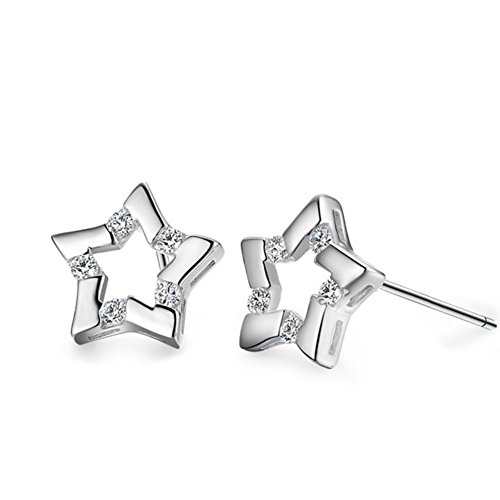 [ER1210141C1 Fashionable Silver Simple Star Plating Women's Earring] (Homemade Dragon Costumes Ideas)