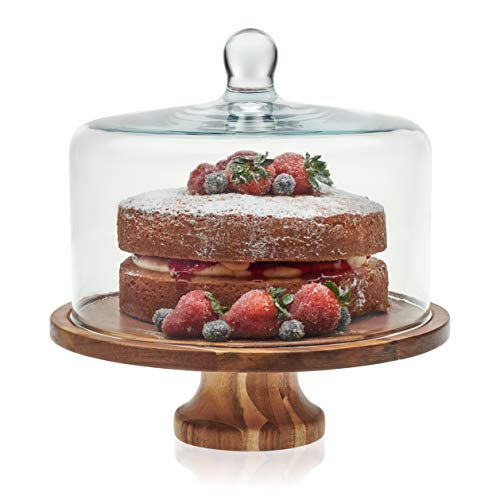 Libbey Acaciawood Footed Round Wood Server Cake Stand with Glass Dome (Dome Stand Cake Marble With)