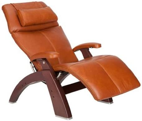 Perfect Chair PC-500 Silhouette Premium Full Grain Leather Zero Gravity Hand-Crafted Chestnut Recliner, Cognac