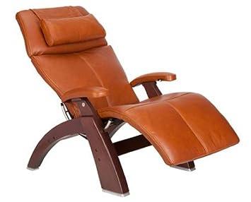 Perfect Chair PC-500 Silhouette Premium Full Grain Leather Zero Gravity Hand-Crafted Chestnut Recliner, Cognac