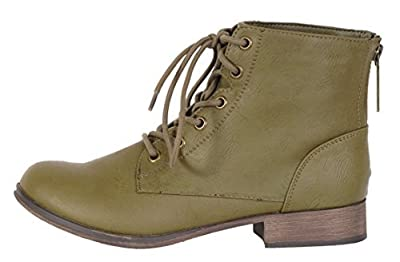Breckelle's Women's Georgia-43 Faux Leather Ankle High Lace up Combat Boots,8 B(M) US,Olive