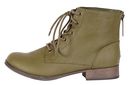 Breckelle's Women's Georgia-43 Faux Leather Ankle High Lace Up Combat Boots,6 B(M) US,Olive