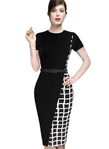 VfEmage Womens Elegant Asymmetric Check Plaid Wear to Work Pencil Dress 2552 Black 12 (Check Plaid Wear)