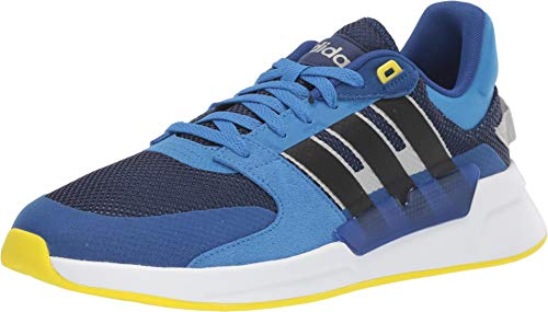 (adidas Men's Run90s Dark Blue/Black/Shock Yellow 7 D US)