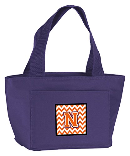 carolines-treasures-cj1062-npr-8808-letter-n-chevron-orange-and-regalia-insulated-lunch-bag-large-mu