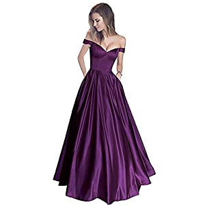 efc7e7ed519 Off-Shoulder Beaded Belt Satin V-Neck Long Prom Dress