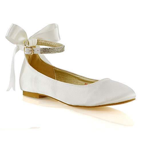 ESSEX GLAM Womens Ankle Strap Pumps Shoes Ladies Ivory Satin Diamante Bow Bridal Ballet Shoes 9 B(M) US